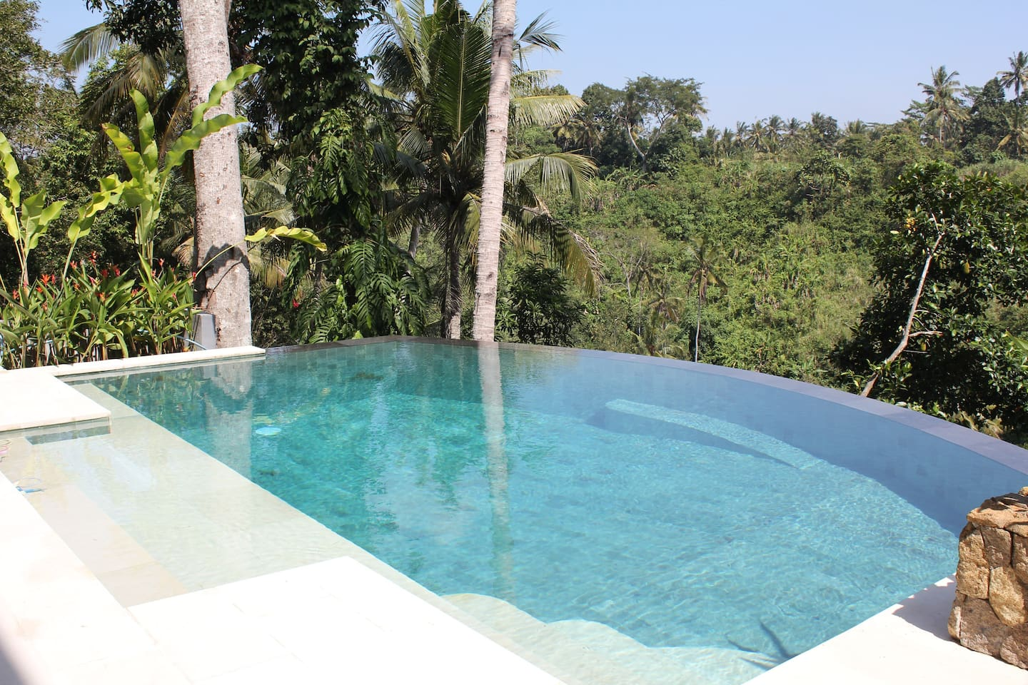 Stunning Infinity Pool looking over the valley, river and jungle.