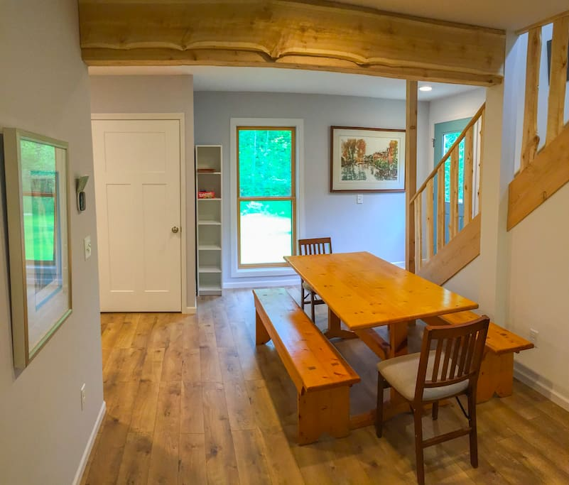Dining Room w/ Door County Pine Table and Reclaimed Cedar Beams