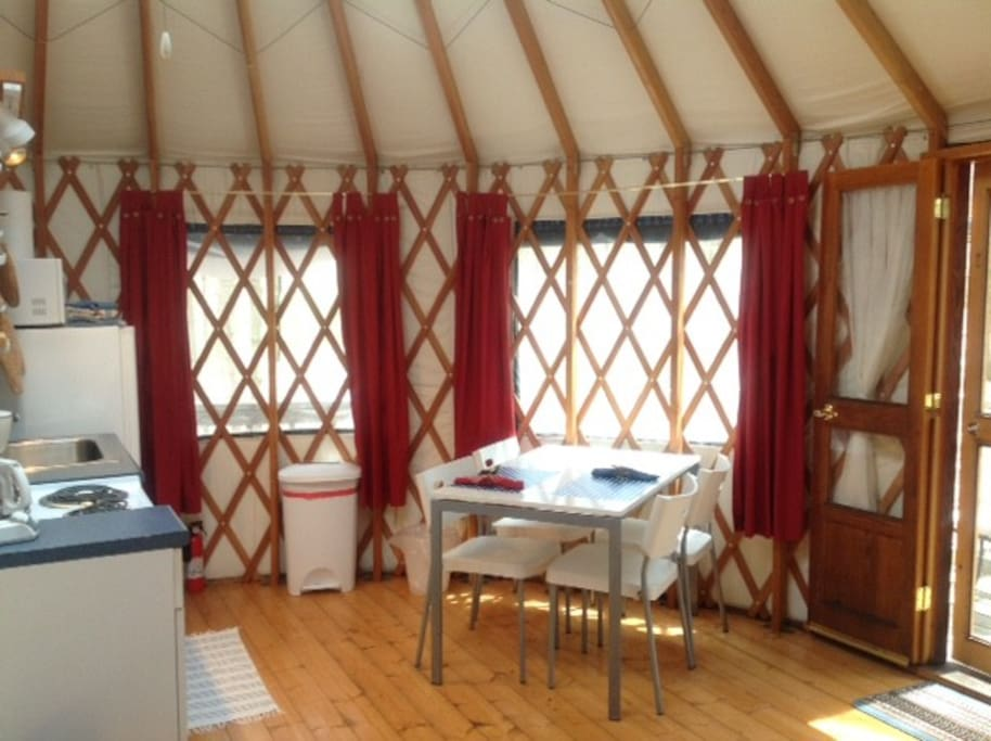 kitchen in the blue yurt
