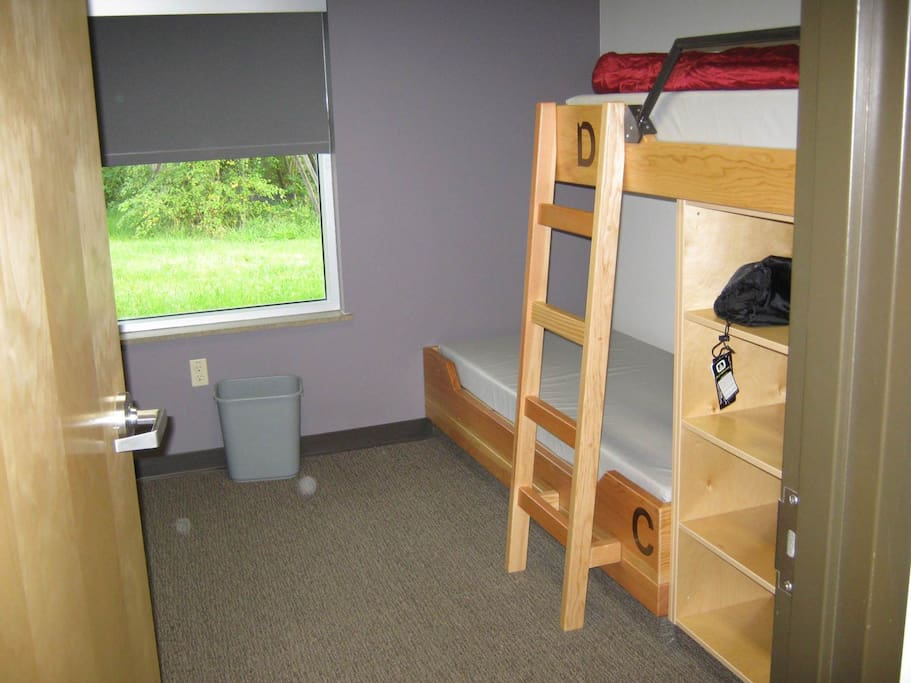 Two bunk beds per room.