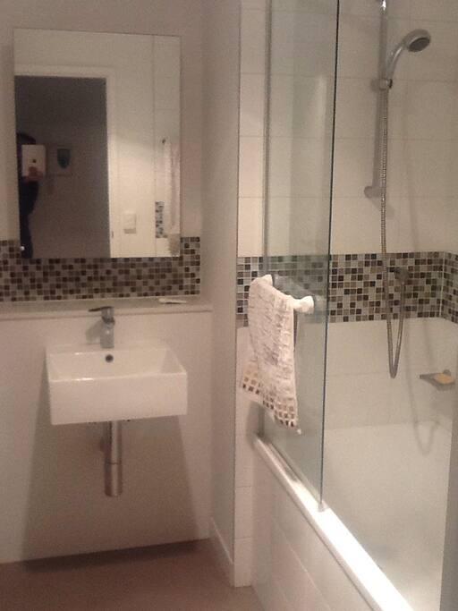 Modern bathroom facility. With bathtube and indoor loundry area.