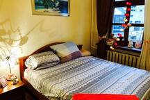 The lovely bedroom (private room) with a big bed and brand new matress
