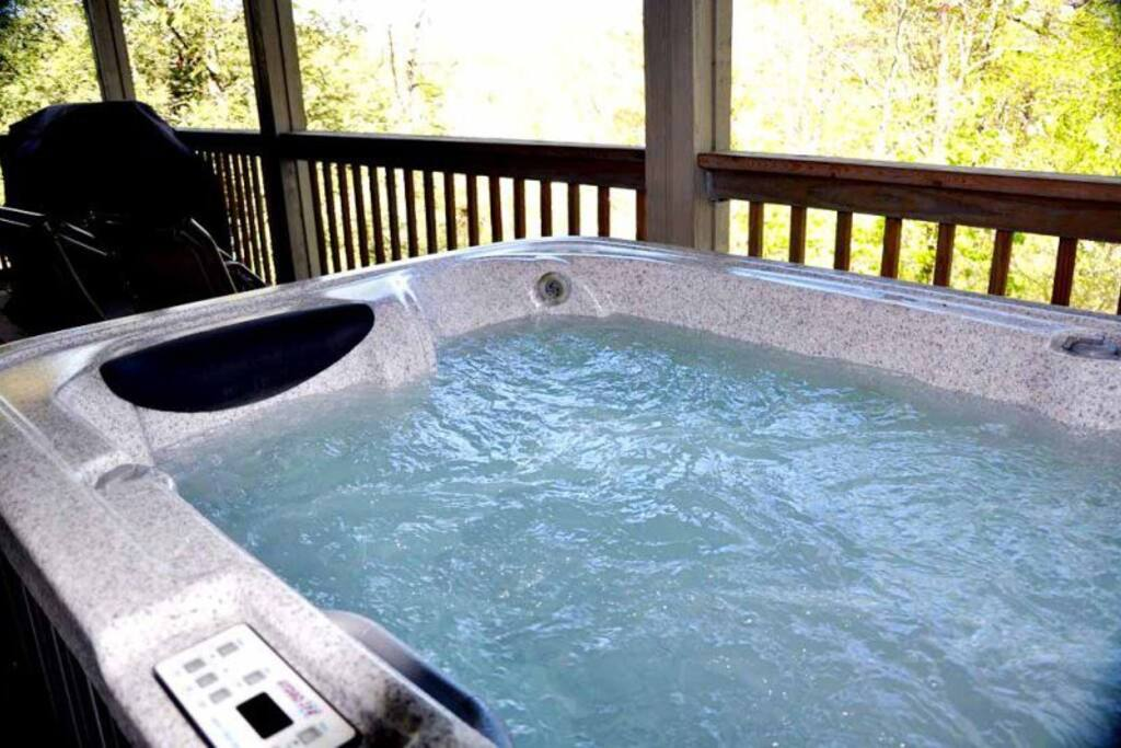 Relax Rain or Shine in the Sheltered Hot Tub