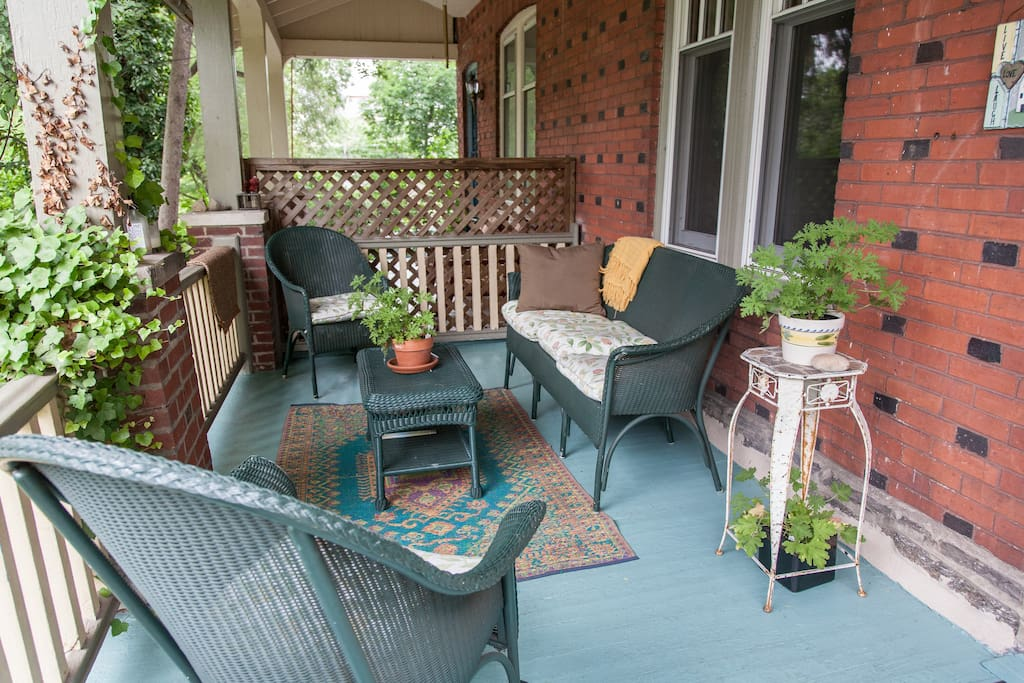 Relax on comfortable porch, friendly neighbors.