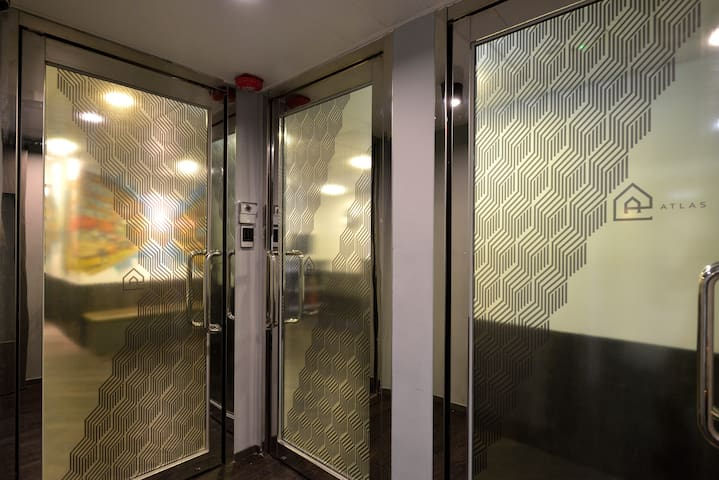 Doors lead to the lobby area…
