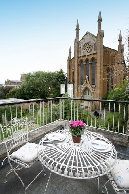 The roof terrace at Number 52 has outdoor seating and lovely views.