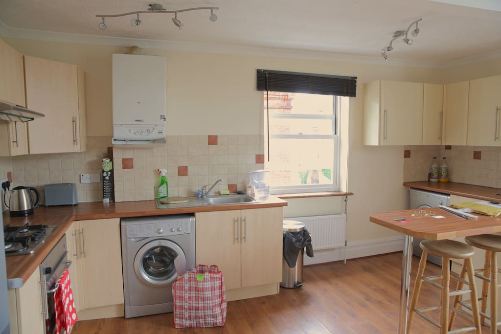 Washing Machine Separate Dryer Breakfast bar Oven and gas hobs Cooking and eating utensils provided New and efficient boiler