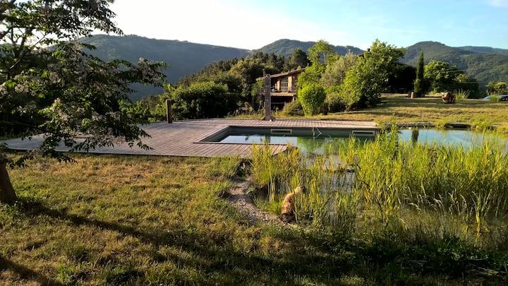 Gîte en pierres et sa piscine naturelle