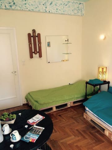 Three types of accommodation: Room for two guests with two single beds
