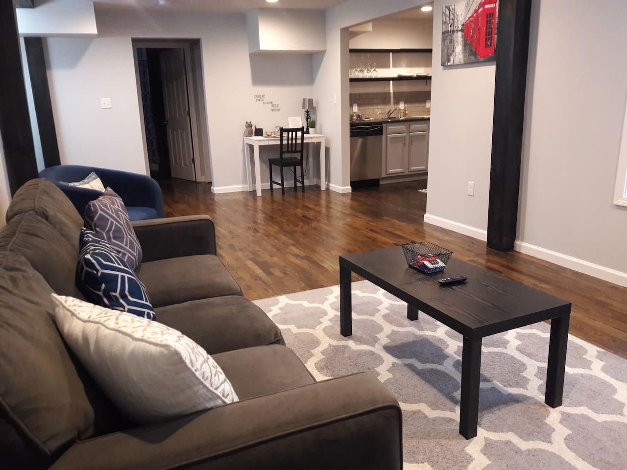 Enjoy an open living space with room to relax, work, cook, and dine.