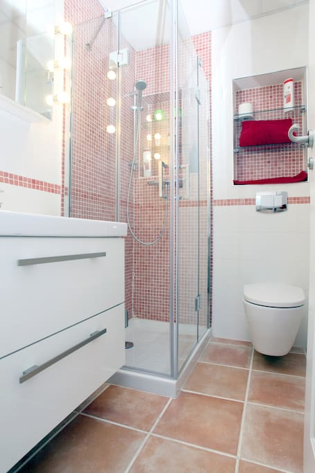Master en-suite (the red toilet). Suspended sink and WC.