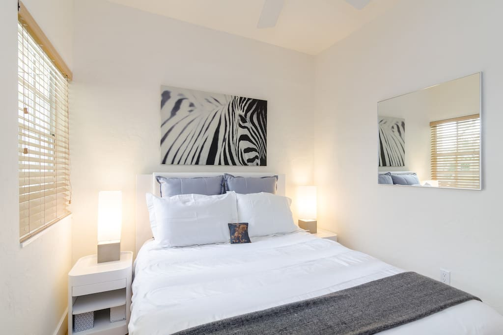 Zebra room has a large size mirror in the room for dressing.