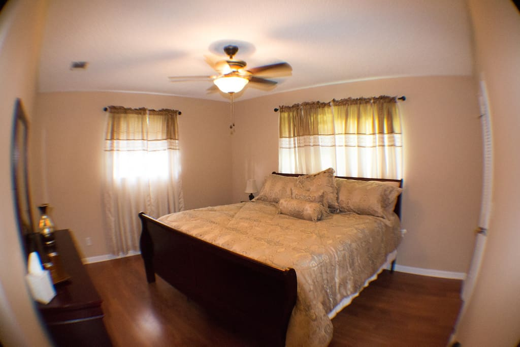 Master Bed room, Dresser Mirror, Night Stand, Ceiling Fan with Globe Light, walk in closet,