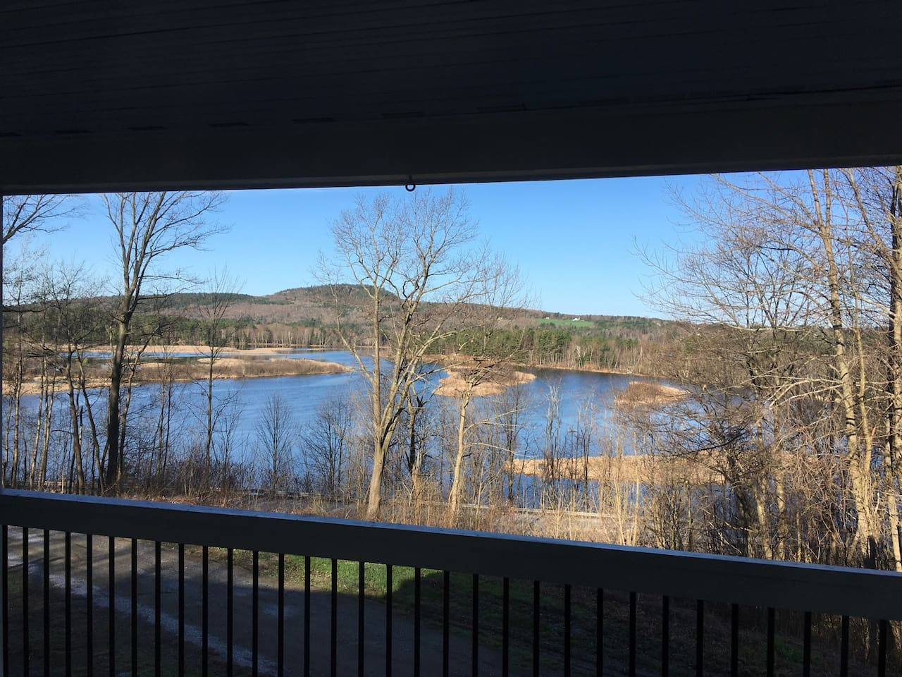 An early winter view from the upper porch before the lake froze.