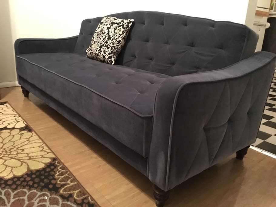Brand new long sofa for lounging or conversating with family and friends.