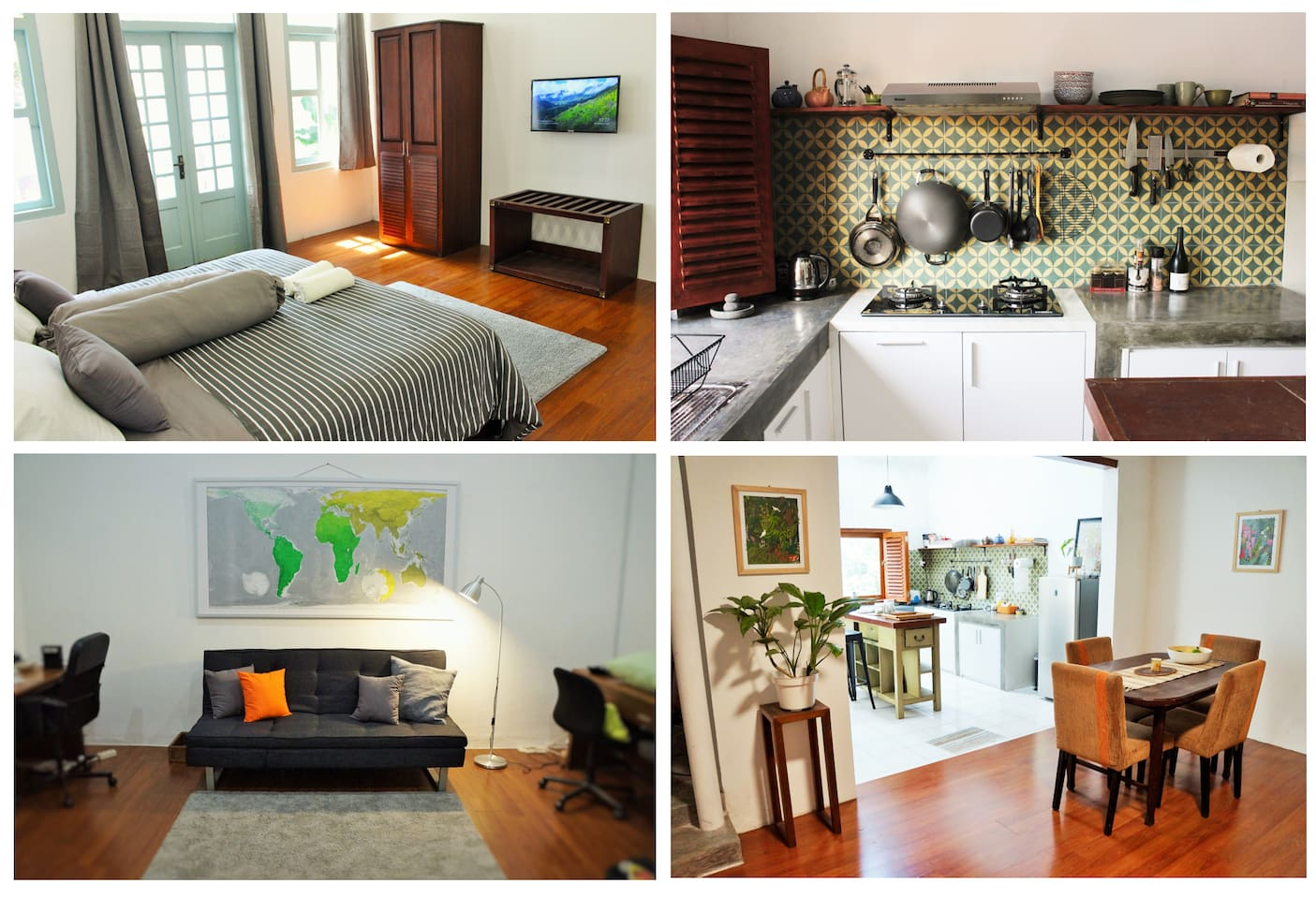 Top right clockwise: Bedroom-kitchen-reading room-dining room&kitchen