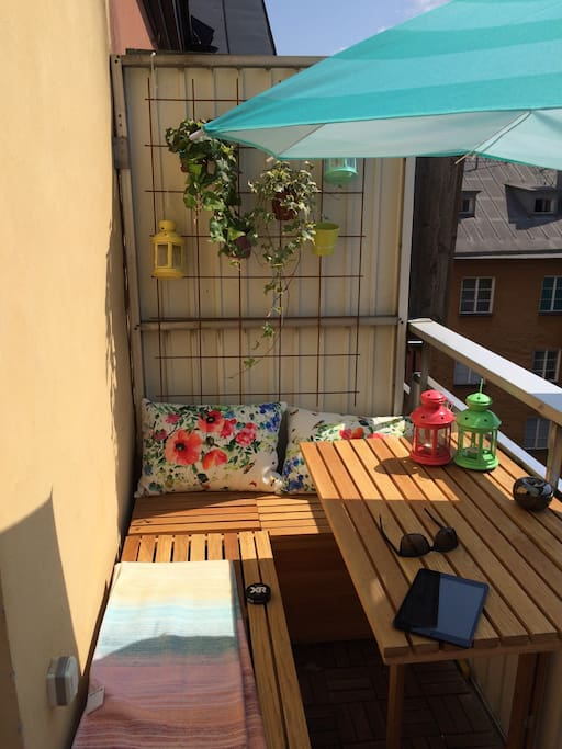 Sitting area of the sunny terrace