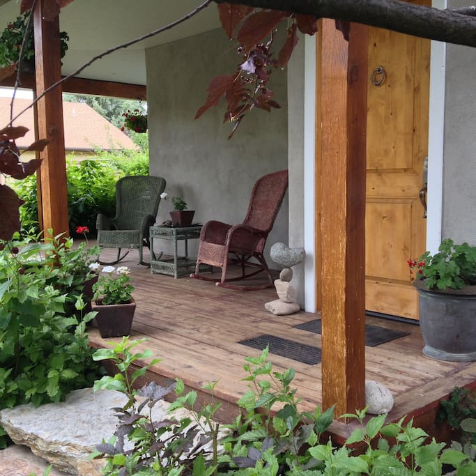 You can enjoy a morning cup or evening drink on the front porch!