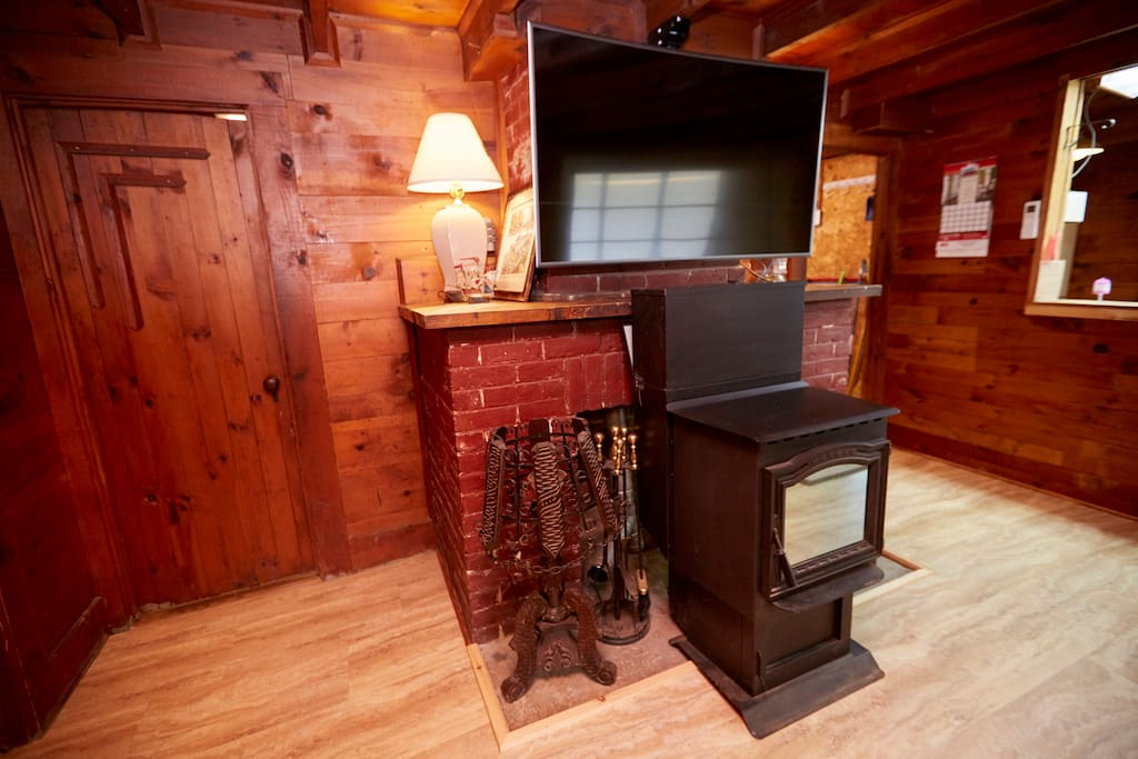 TV and Pellet Stove on the Living Room
