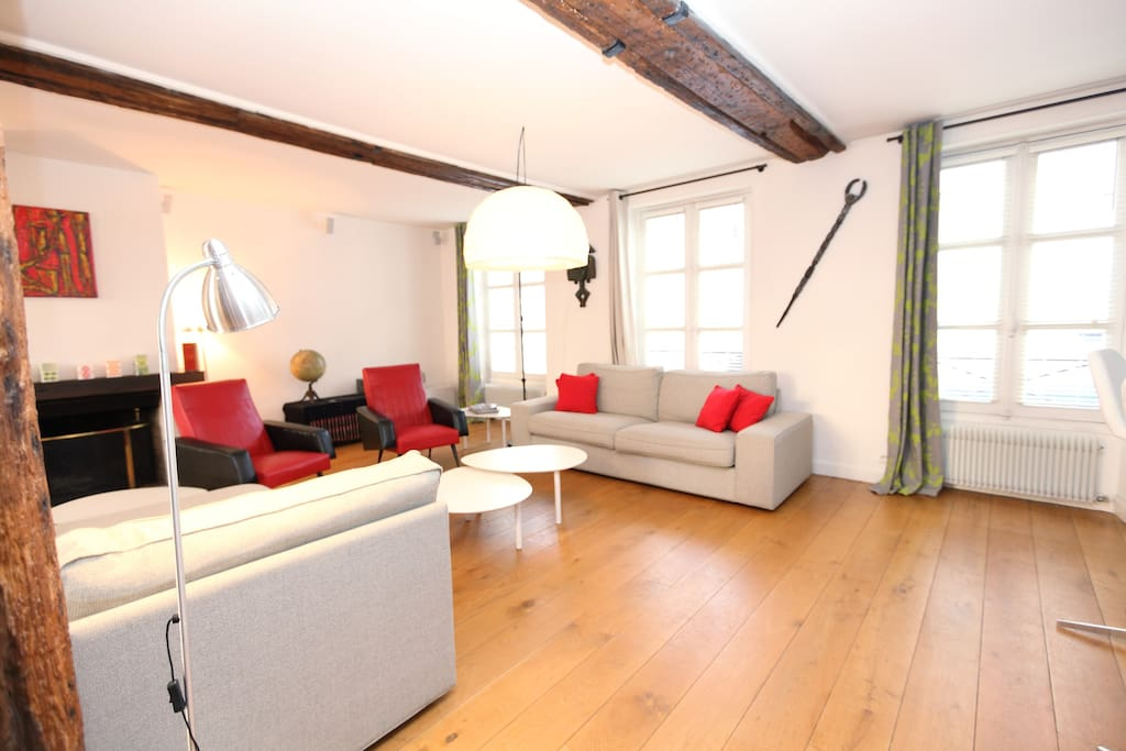 The sofas and armchairs of the living room area are very comfortable and can be easily shifted around