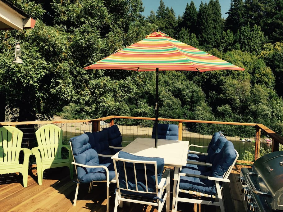 Deck overlooking the Russian River!