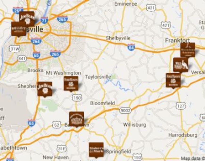 Bourbon Trail map. Springfield at lower center!