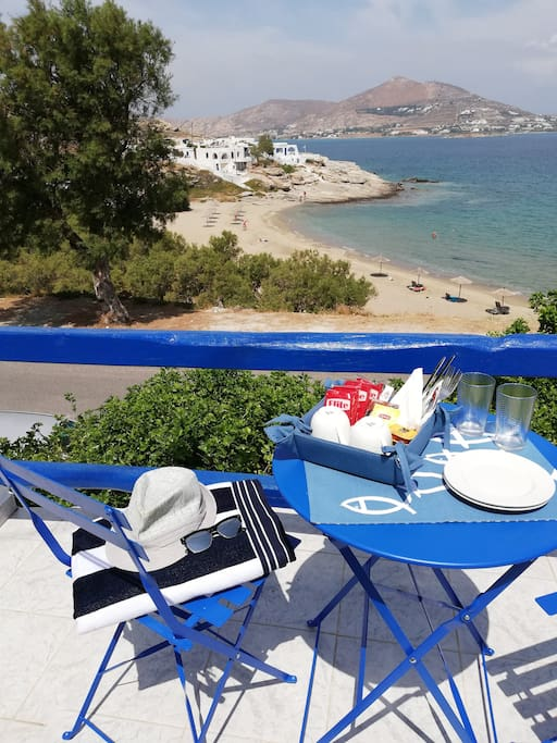 Breakfast on your Terrace with Piperi beach sea view