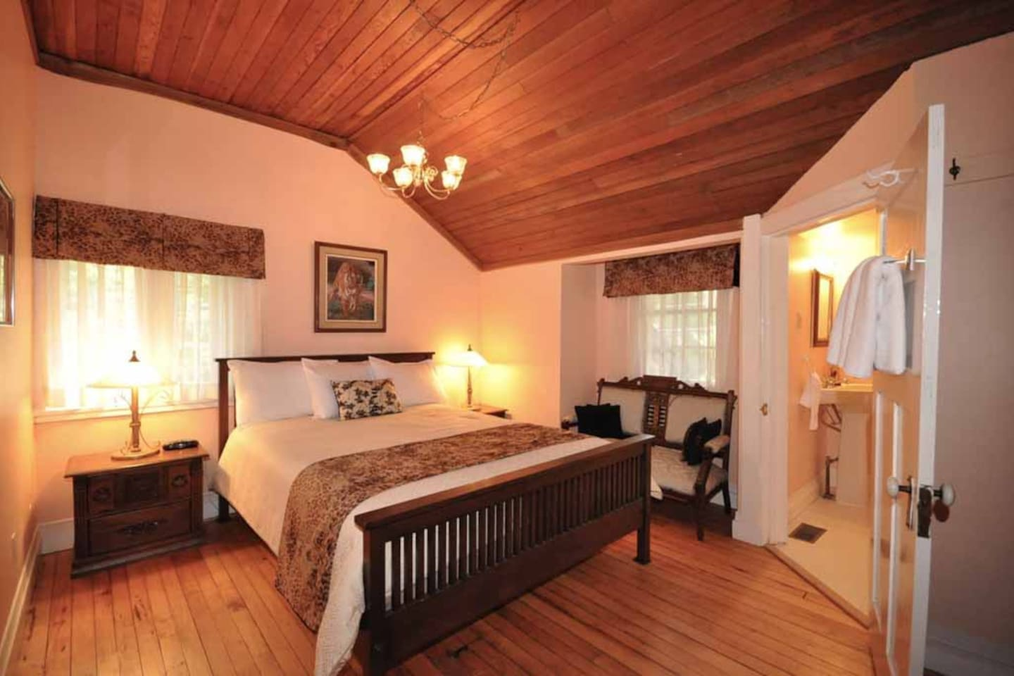 Perfectly Peach room with queen bed and ensuite.