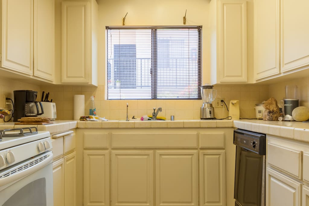 Kitchen includes new stove, a microwave for your use ,dishwasher and refrigerator.
