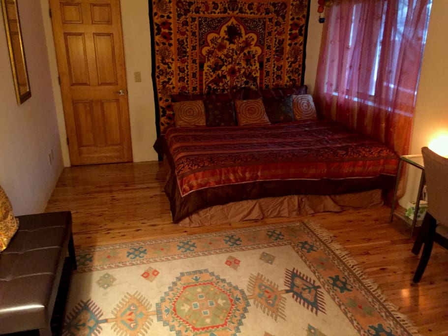 King Size Bed and Relaxing/Meditation Bench