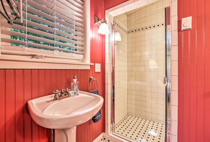 There's a tiled walk-in shower.