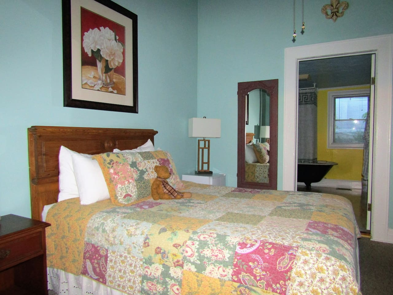 Your room has a queen size bed and private bathroom