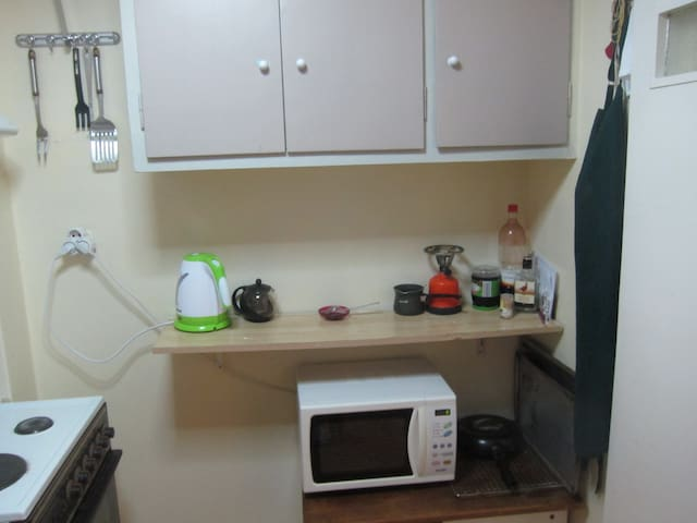 Kitchen - microwave, kettle, turkish coffee pot which you can use