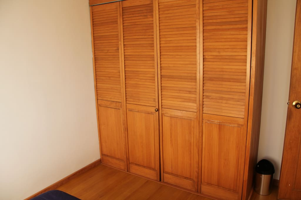 With a dresser and closet