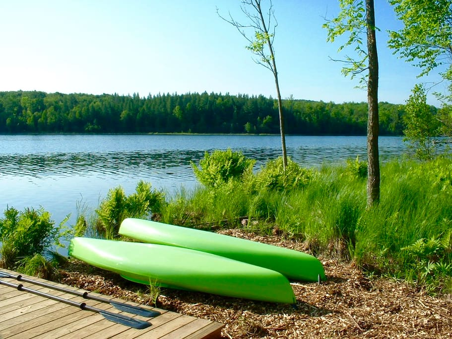Our private water frontage - free canoes
