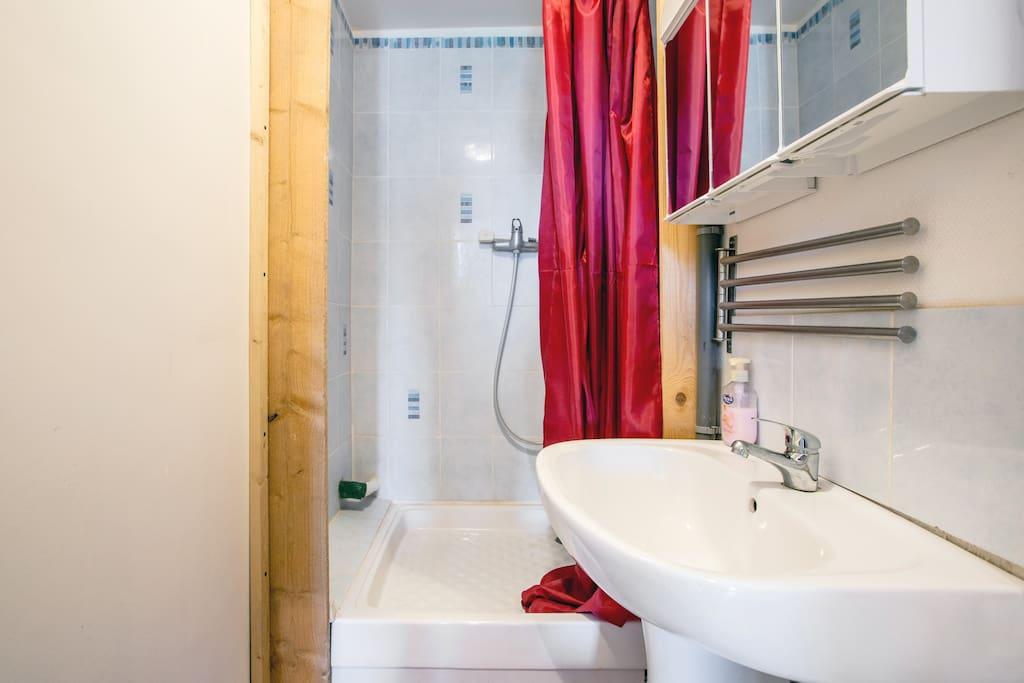 Très pratique la petite salle d'eau avec WC et DOUCHE au 1er