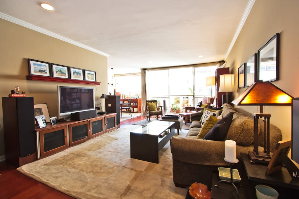 Living room with entertainment center, large screen TV