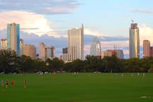 Zilker Park (home of the Austin City Limits festival) with the Austin skyline