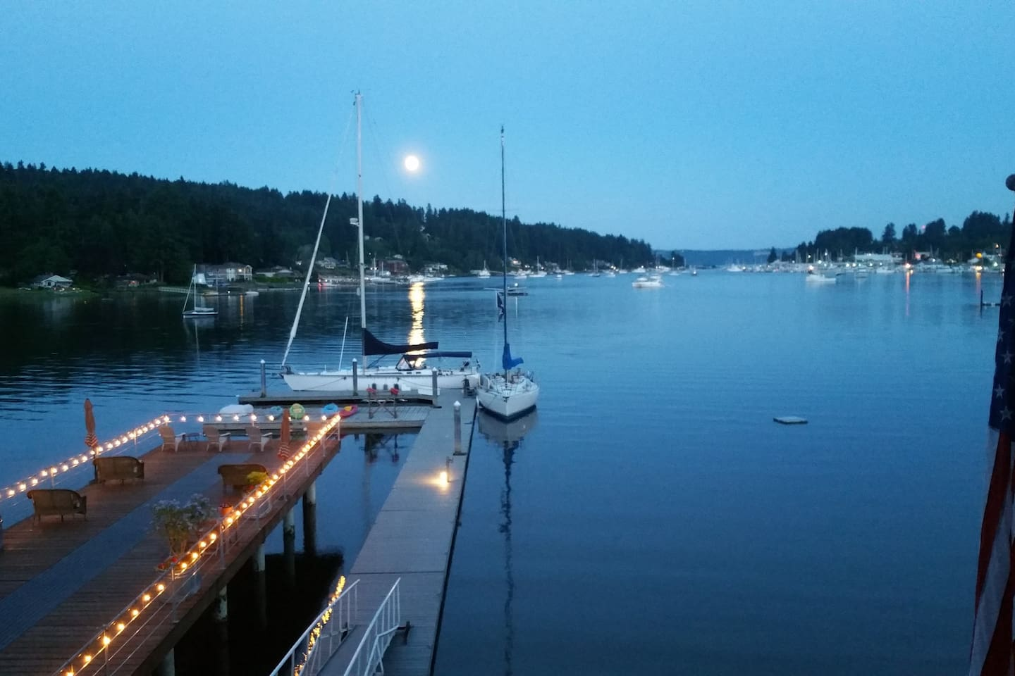 Moonrise at the Waterfront Inn.   Deck, dock and kayaks are there for you to use.
