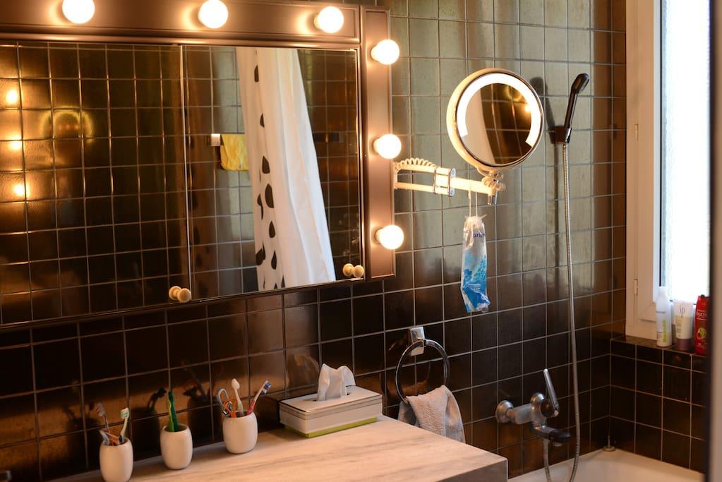 Fancy bathroom lights.