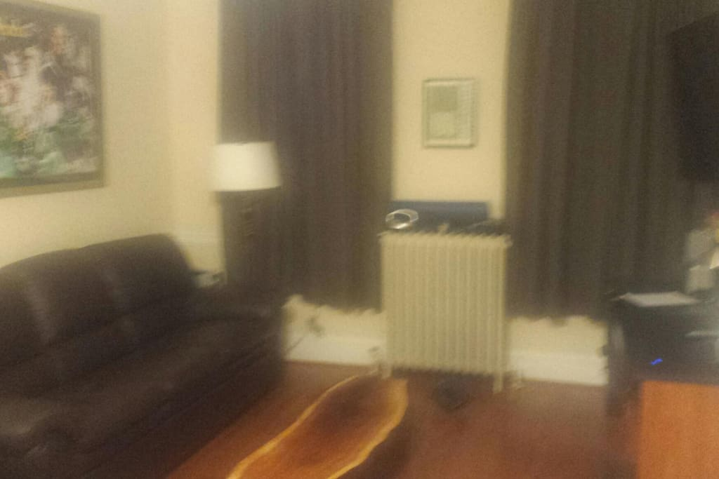 Living room with brand new couch, large flat screen television.