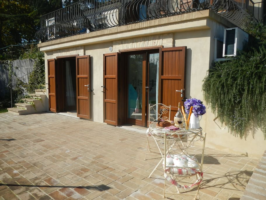 The apartment has a large, private terrace with BBQ the perfect for place for dining alfresco.