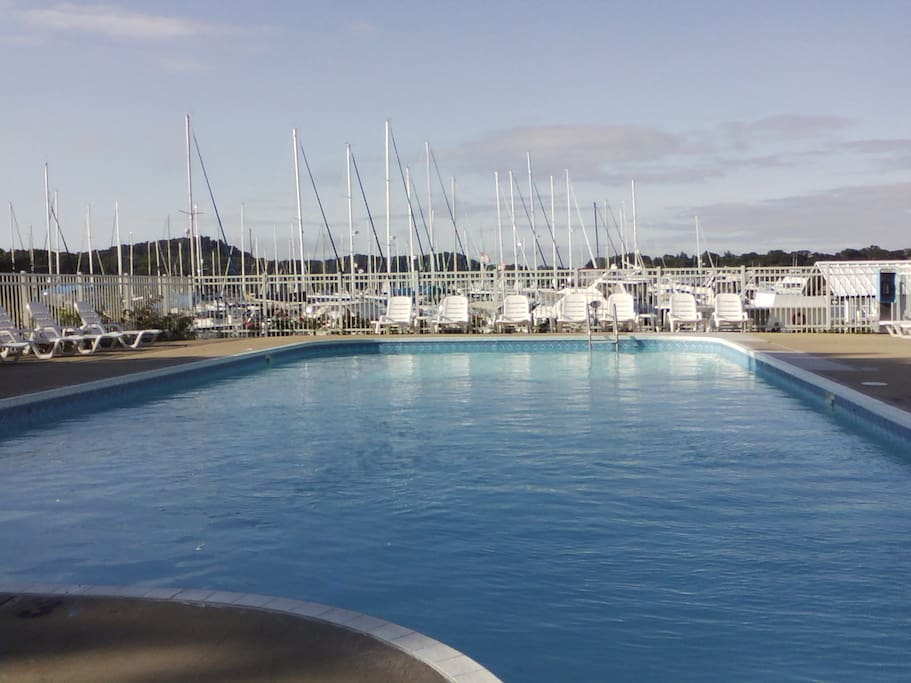 The pool at The Marina...along with a view of the sailboats.