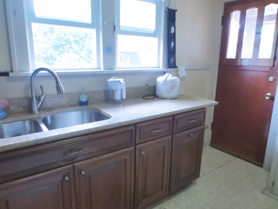 Remodeled kitchen with stainless Steel sink