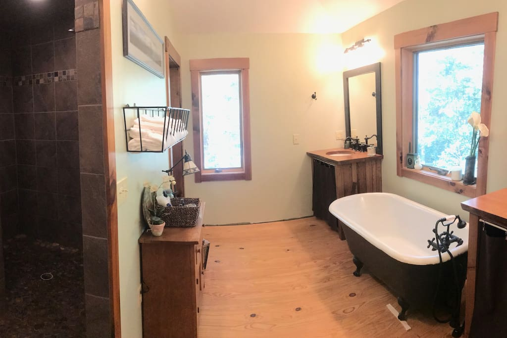 Attached master bathroom with walk-in shower