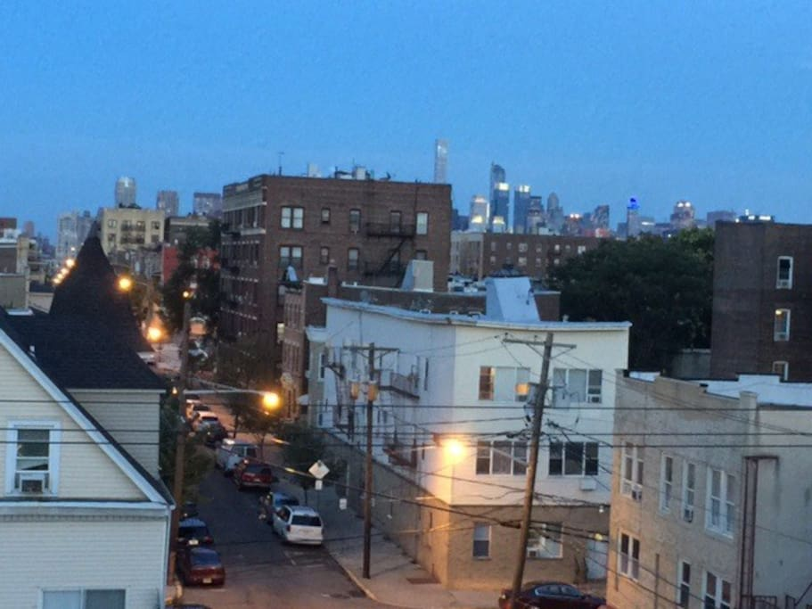 View from the living room of the NYC skyline