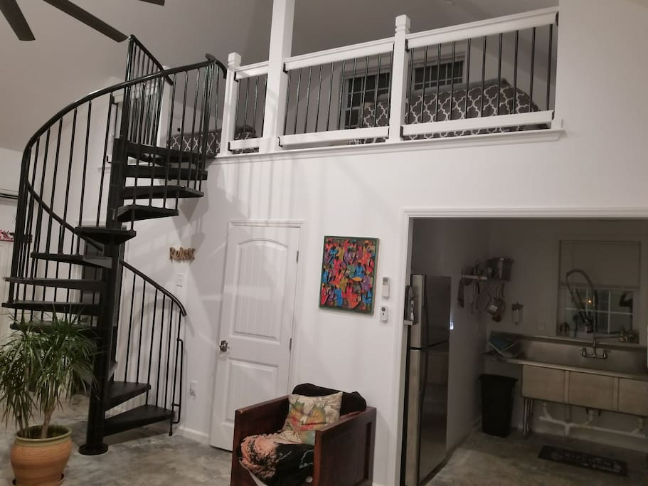 spiral stairs to sleeping area