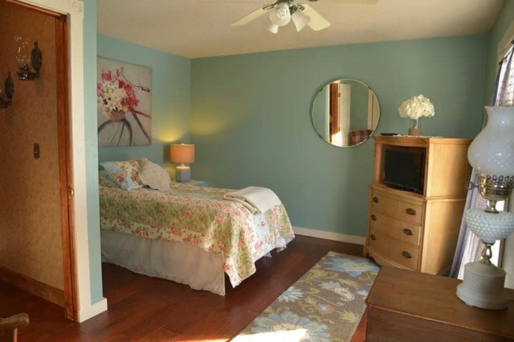 One of the guest bedrooms with a full size bed.