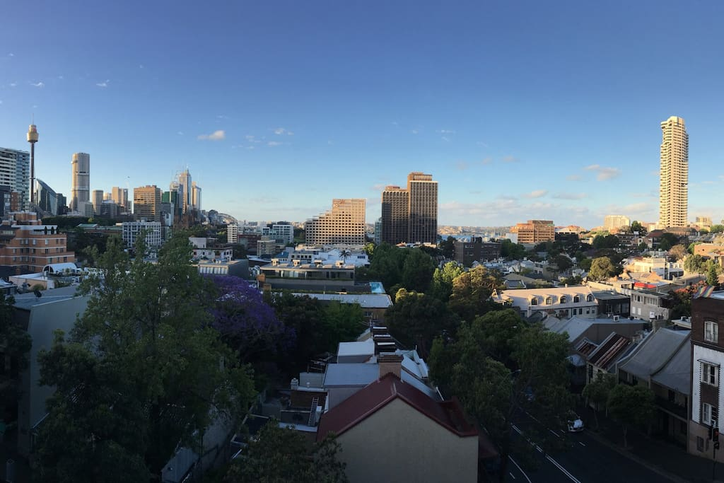 Panoramic view of Darlinghurst from communal rooftop