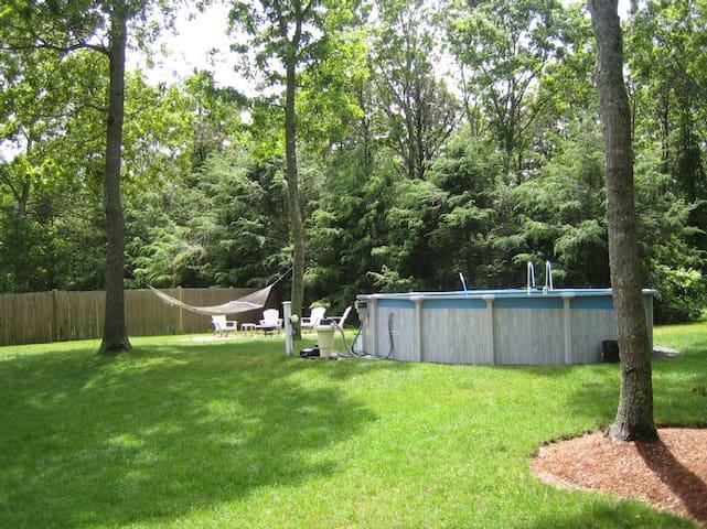 Backyard pool and hammock